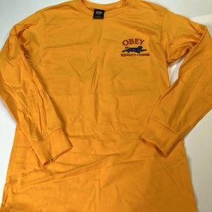 Gold Obey Long Sleeve T-Shirt Men's Sz Small Tee